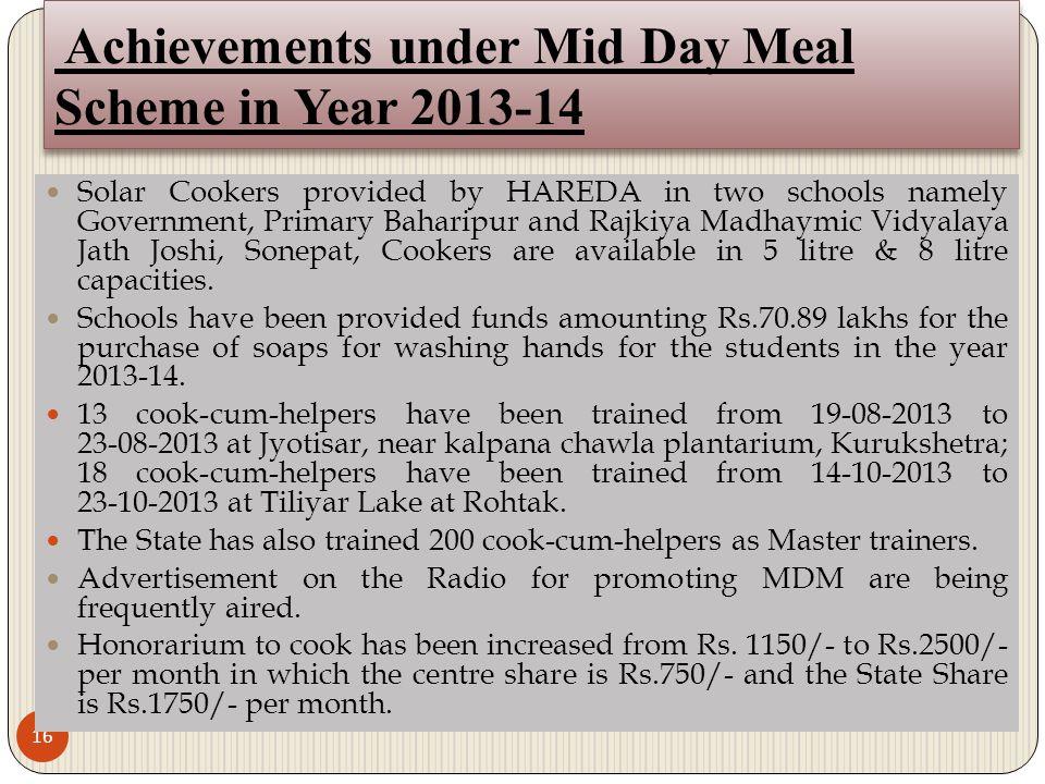Achievements under Mid Day Meal Scheme in Year 2013-14