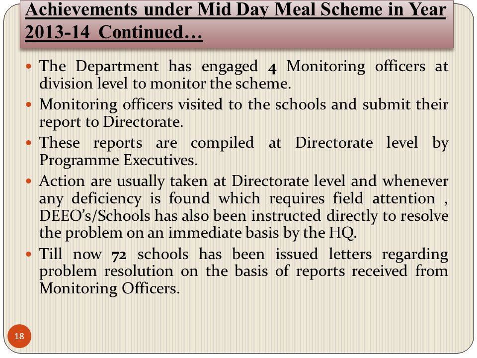 Achievements under Mid Day Meal Scheme in Year 2013-14 Continued…