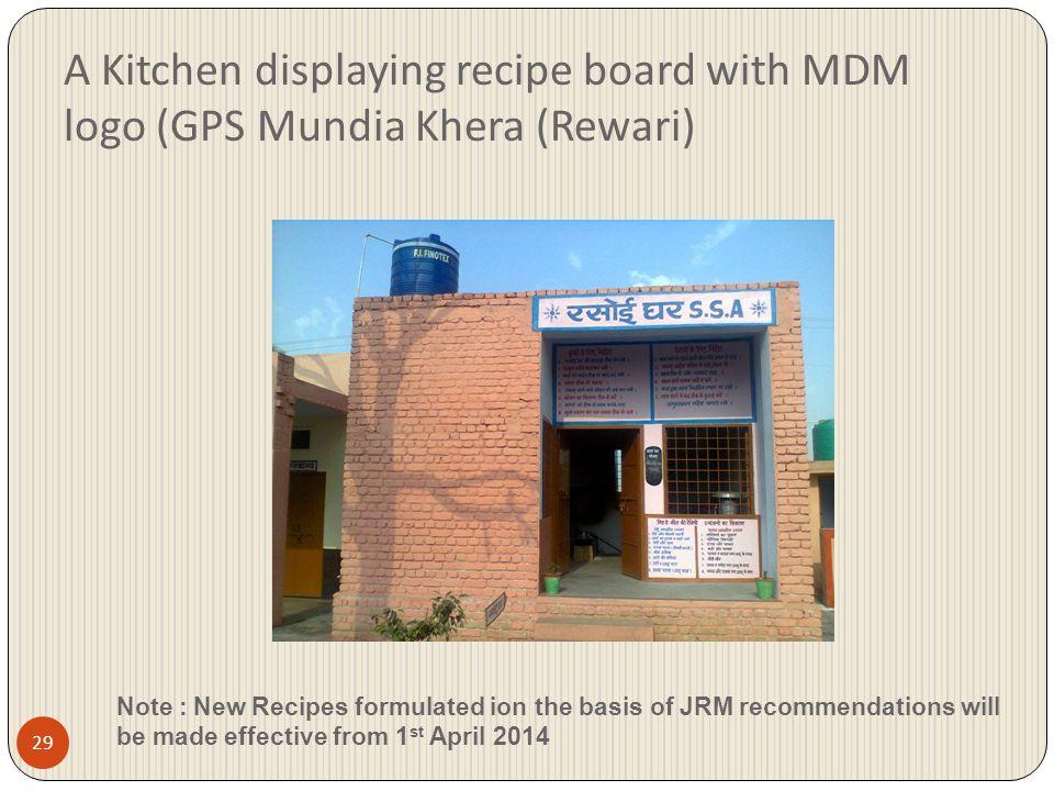 A Kitchen displaying recipe board with MDM logo (GPS Mundia Khera (Rewari)