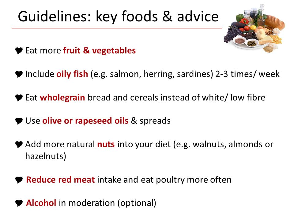 Guidelines: key foods & advice