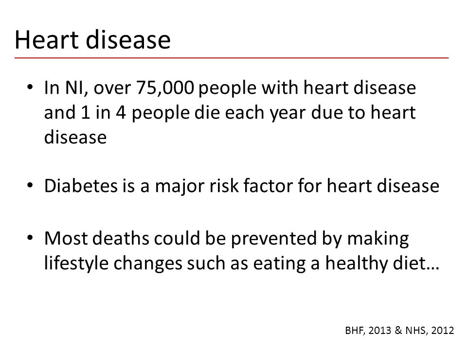 Heart disease In NI, over 75,000 people with heart disease and 1 in 4 people die each year due to heart disease.