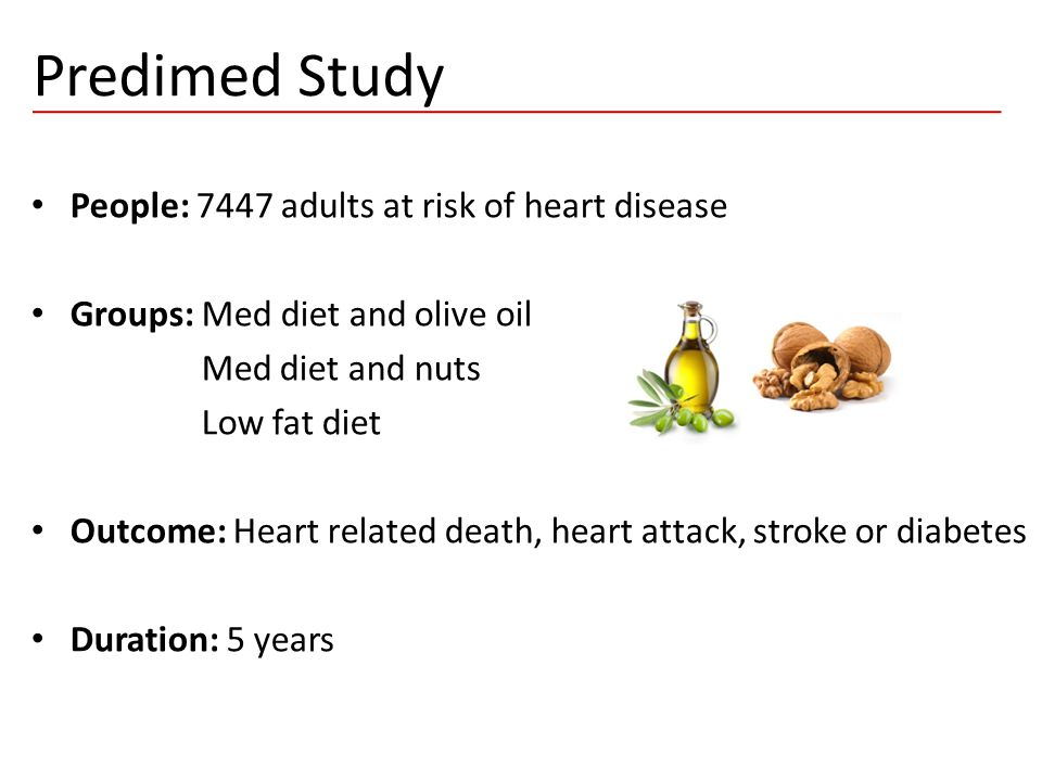 Predimed Study People: 7447 adults at risk of heart disease