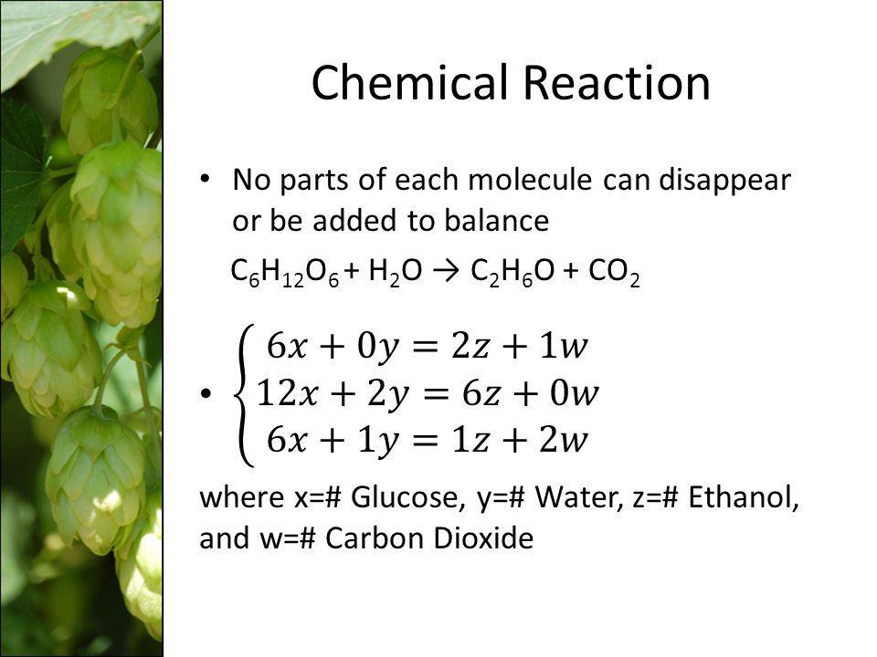 Chemical Reaction 6𝑥+0𝑦=2𝑧+1𝑤 12𝑥+2𝑦=6𝑧+0𝑤 6𝑥+1𝑦=1𝑧+2𝑤