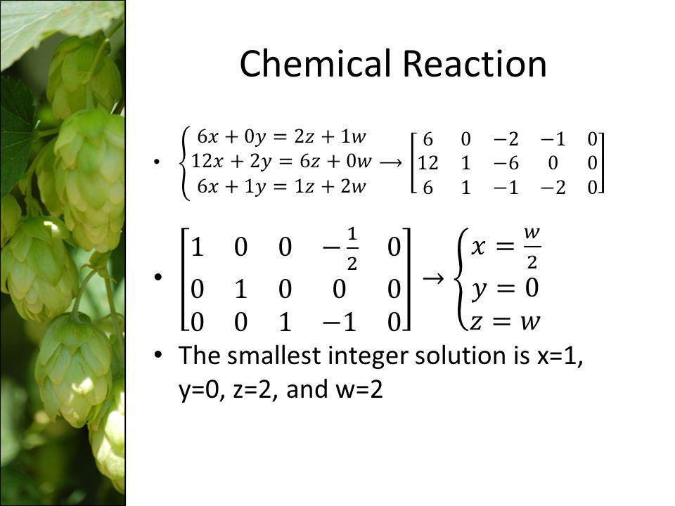 Chemical Reaction 1 0 0 − 1 2 0 0 1 0 0 0 0 0 1 −1 0 → 𝑥= 𝑤 2 𝑦=0 𝑧=𝑤