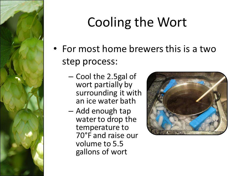 Cooling the Wort For most home brewers this is a two step process: