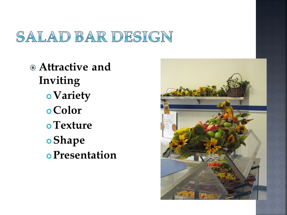 Salad Bar Design Attractive and Inviting Variety Color Texture Shape