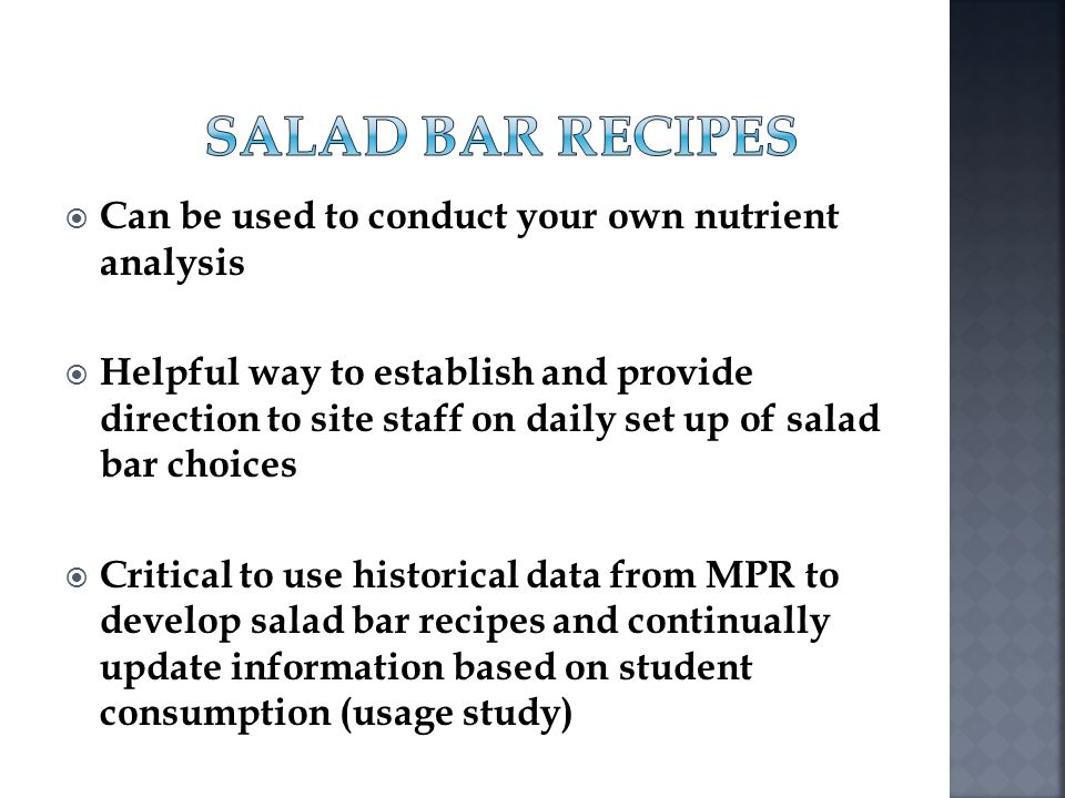 Salad Bar Recipes Can be used to conduct your own nutrient analysis