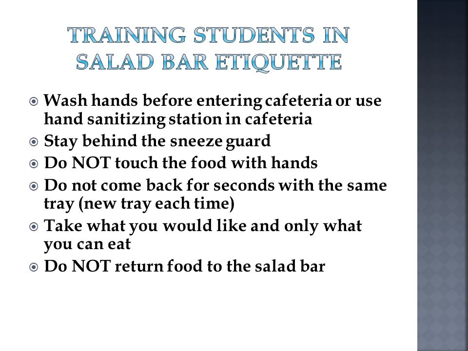 Training Students in Salad Bar Etiquette