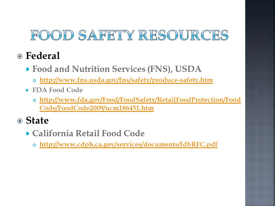 Food Safety Resources Federal State