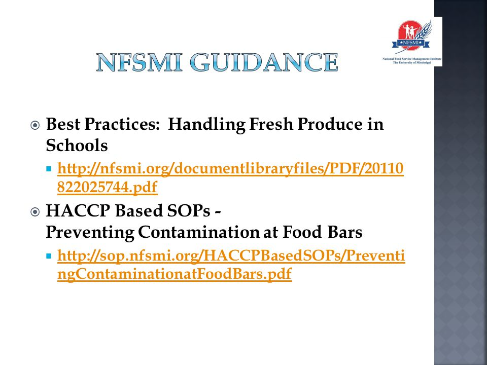 NFSMI Guidance Best Practices: Handling Fresh Produce in Schools