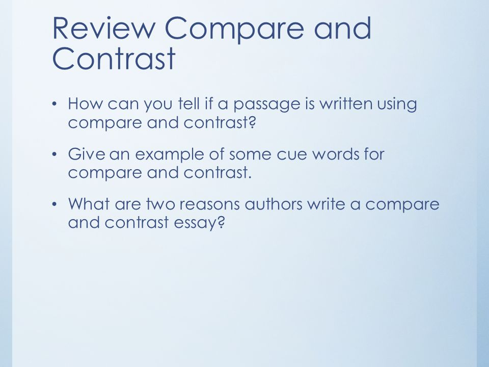 Review Compare and Contrast