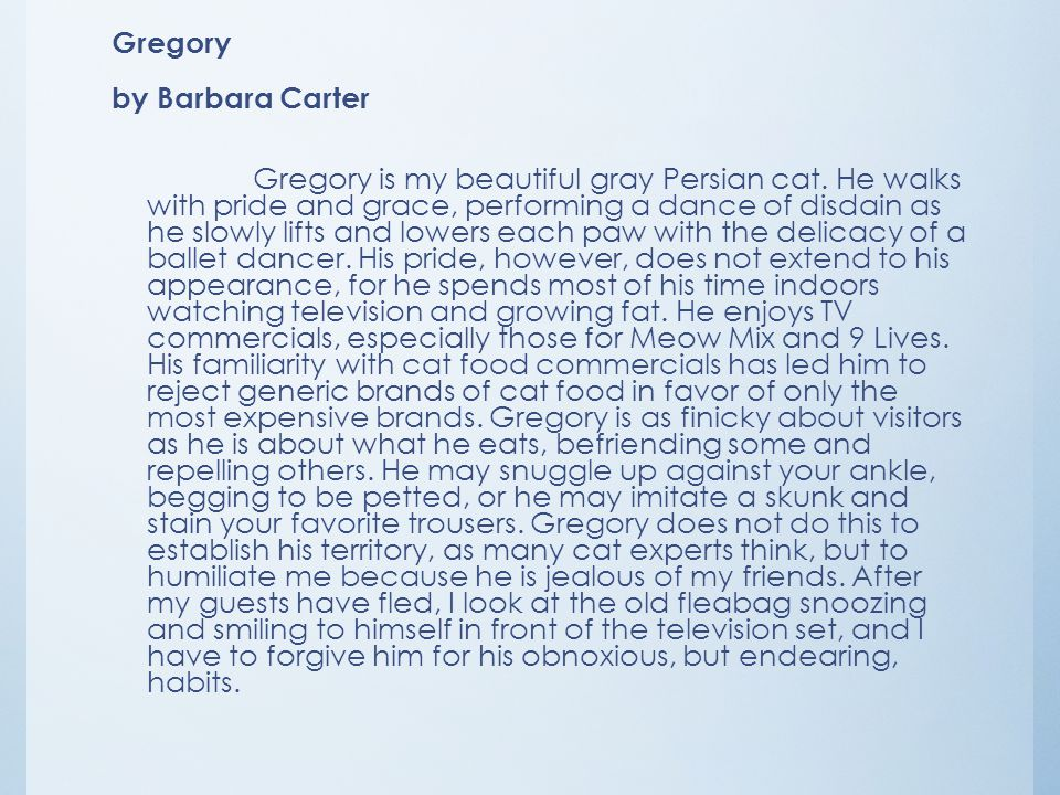 Gregory by Barbara Carter Gregory is my beautiful gray Persian cat
