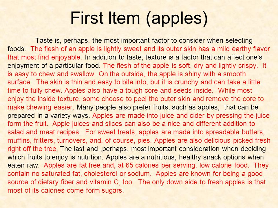 First Item (apples)