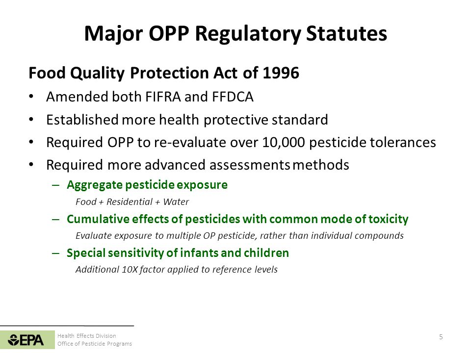 Major OPP Regulatory Statutes