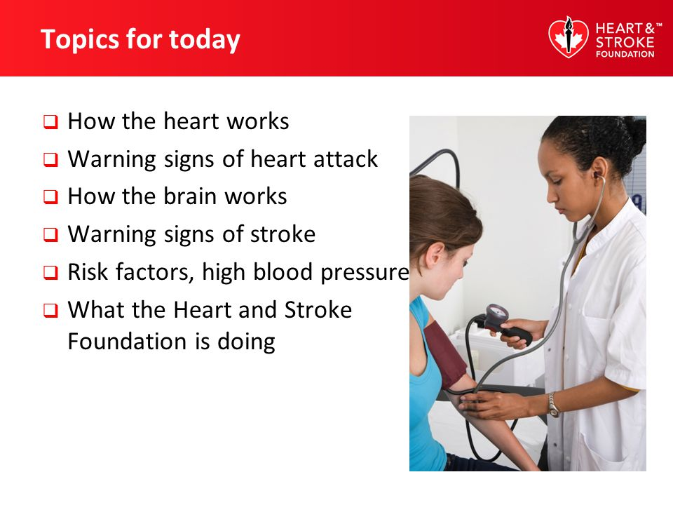 Topics for today How the heart works Warning signs of heart attack
