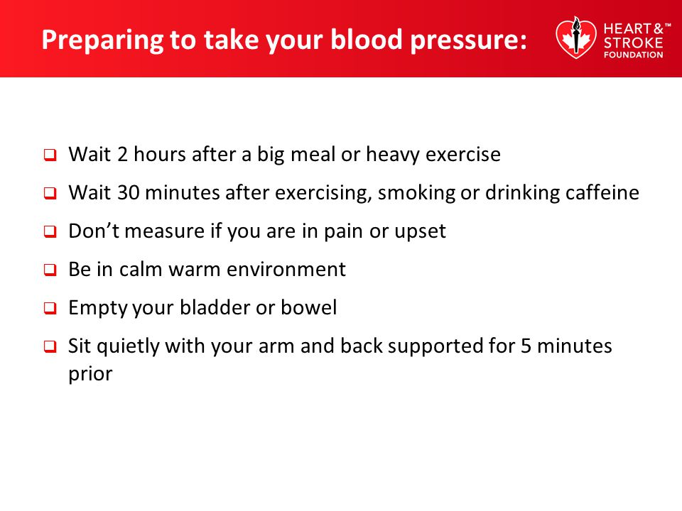 Preparing to take your blood pressure: