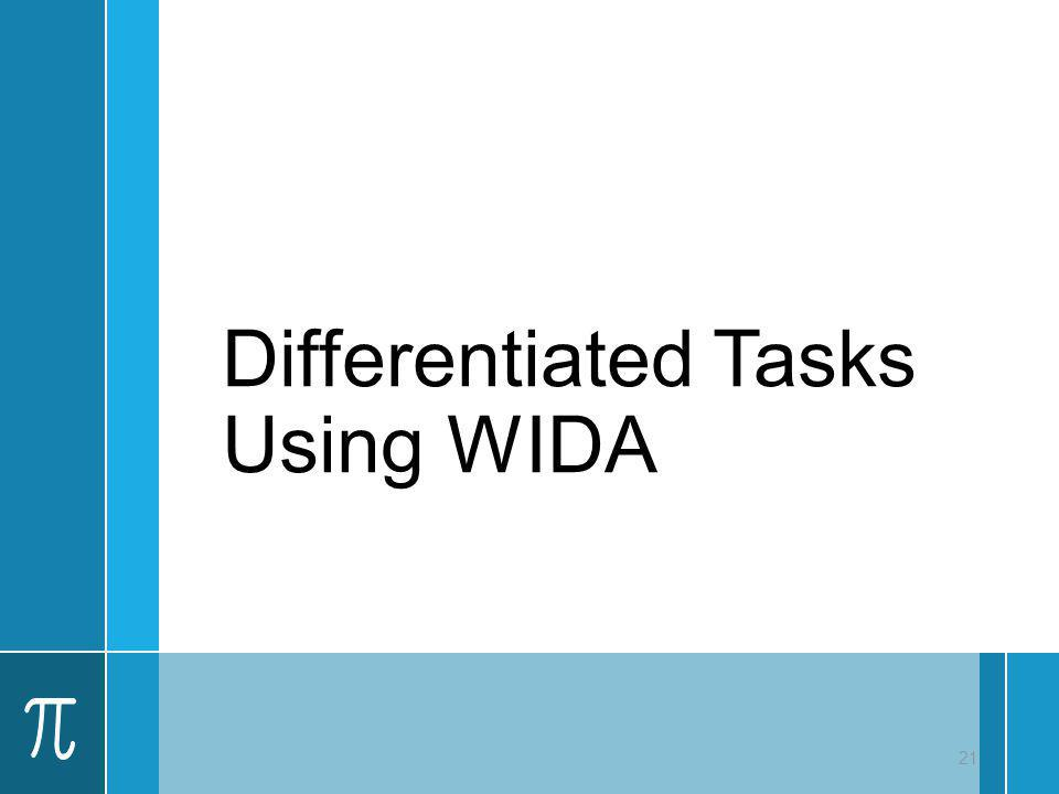 Differentiated Tasks Using WIDA