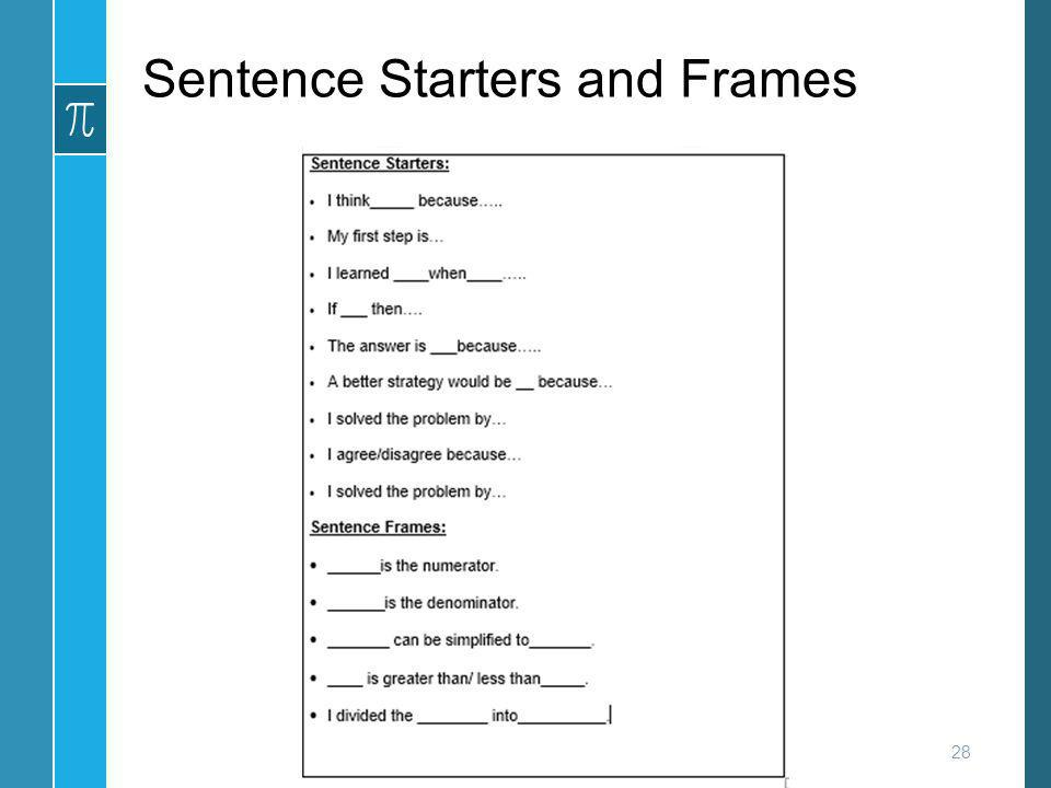 Sentence Starters and Frames
