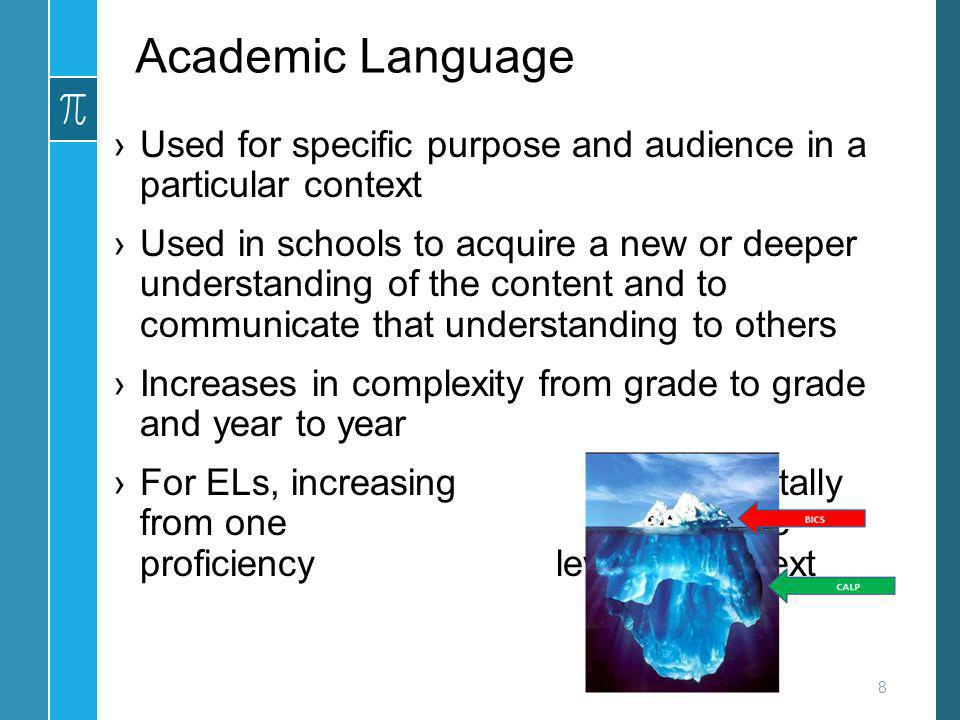 Academic Language Used for specific purpose and audience in a particular context.