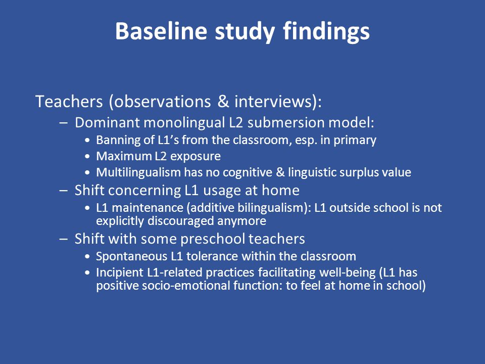 Baseline study findings
