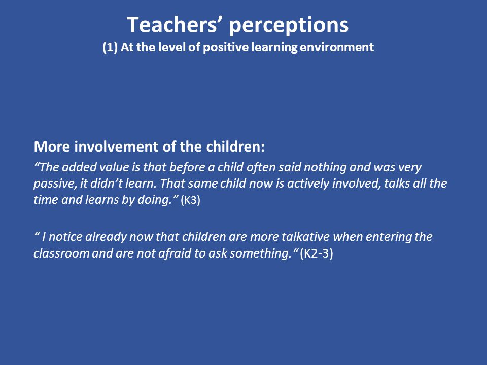 Teachers' perceptions (1) At the level of positive learning environment