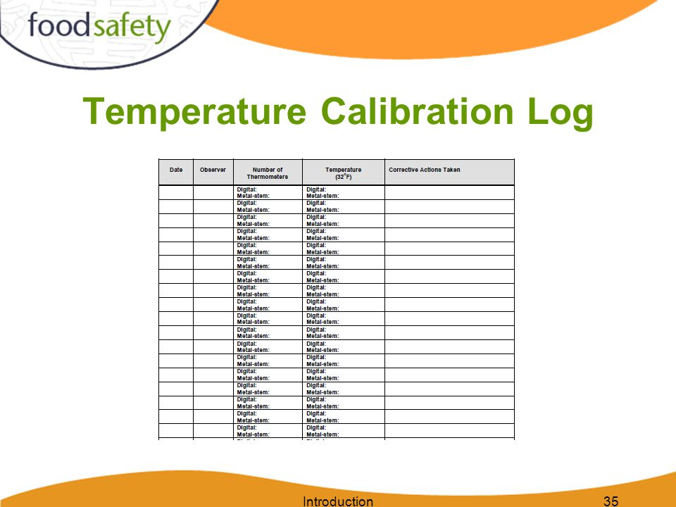 Temperature Calibration Log