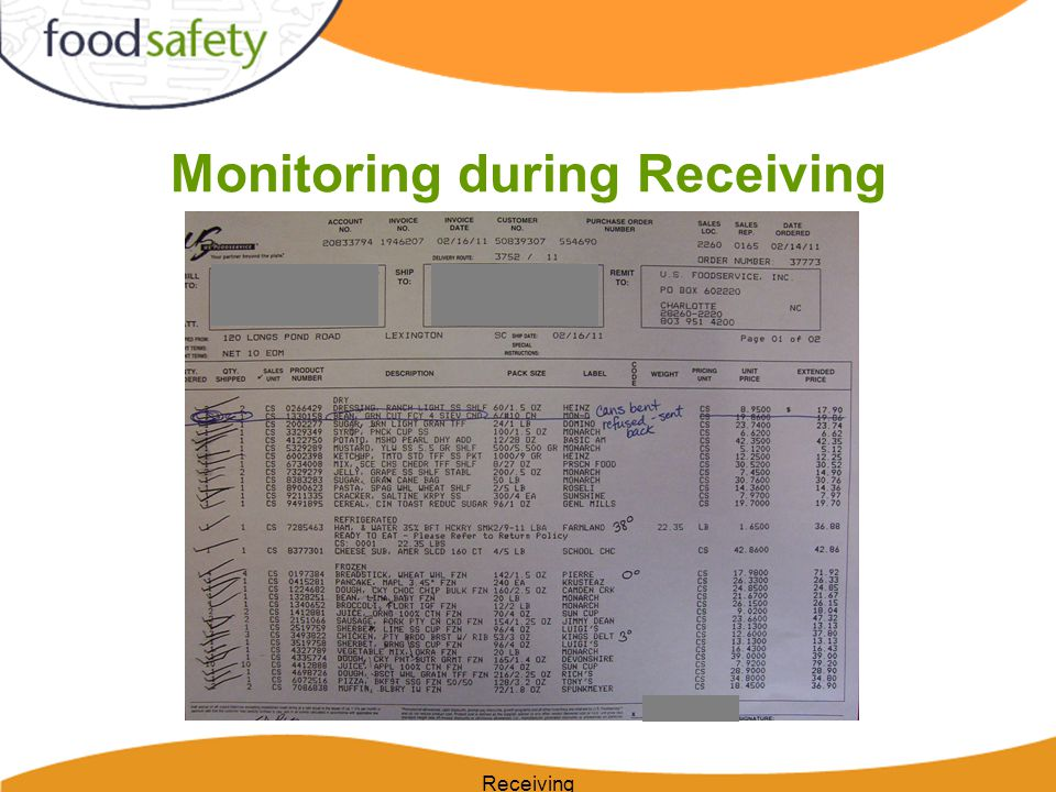 Monitoring during Receiving