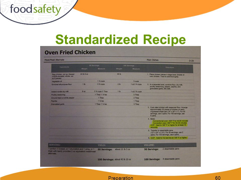Standardized Recipe Preparation