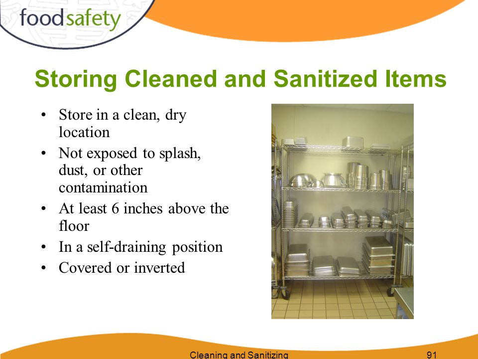 Storing Cleaned and Sanitized Items
