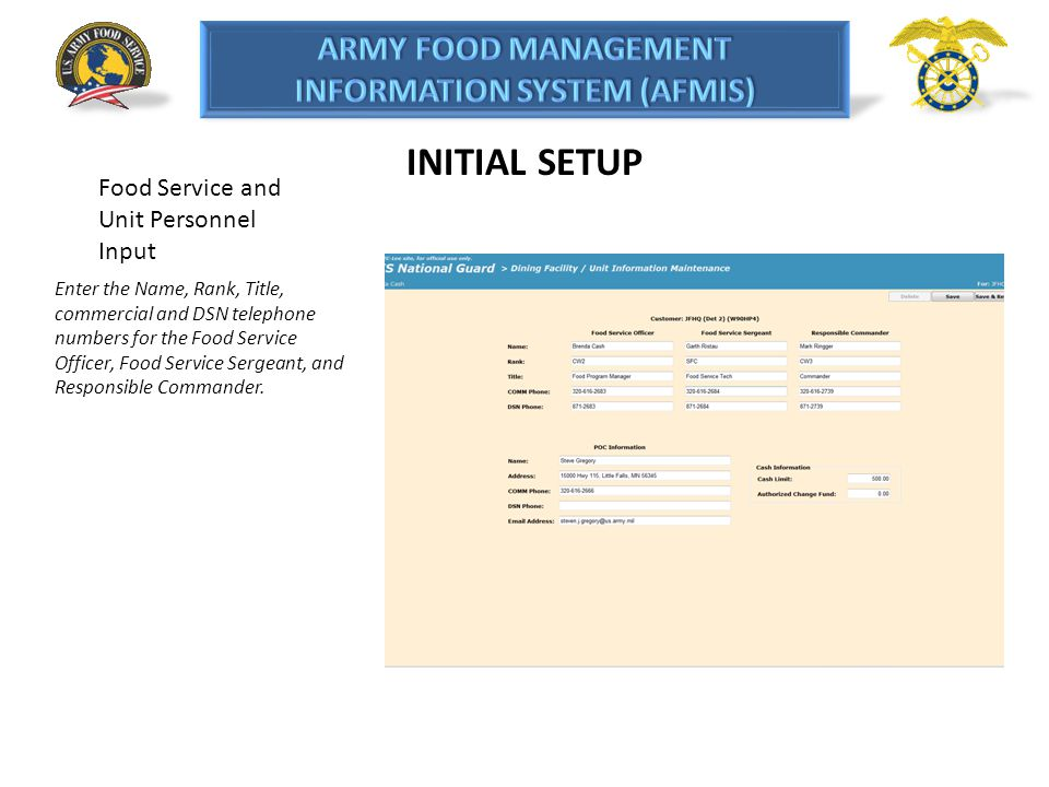 INITIAL SETUP Food Service and Unit Personnel Input
