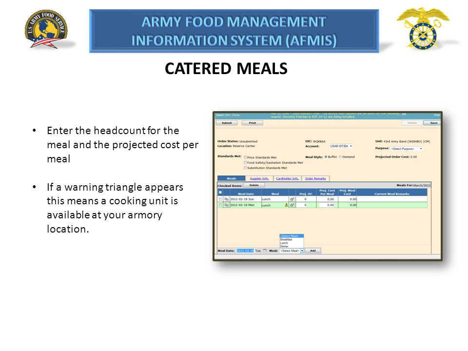 CATERED MEALS Enter the headcount for the meal and the projected cost per meal.