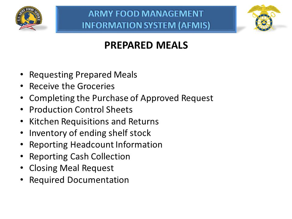 PREPARED MEALS Requesting Prepared Meals Receive the Groceries