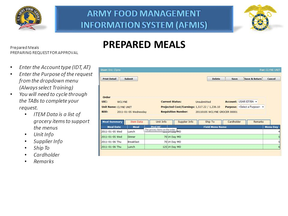 PREPARED MEALS Enter the Account type (IDT, AT)