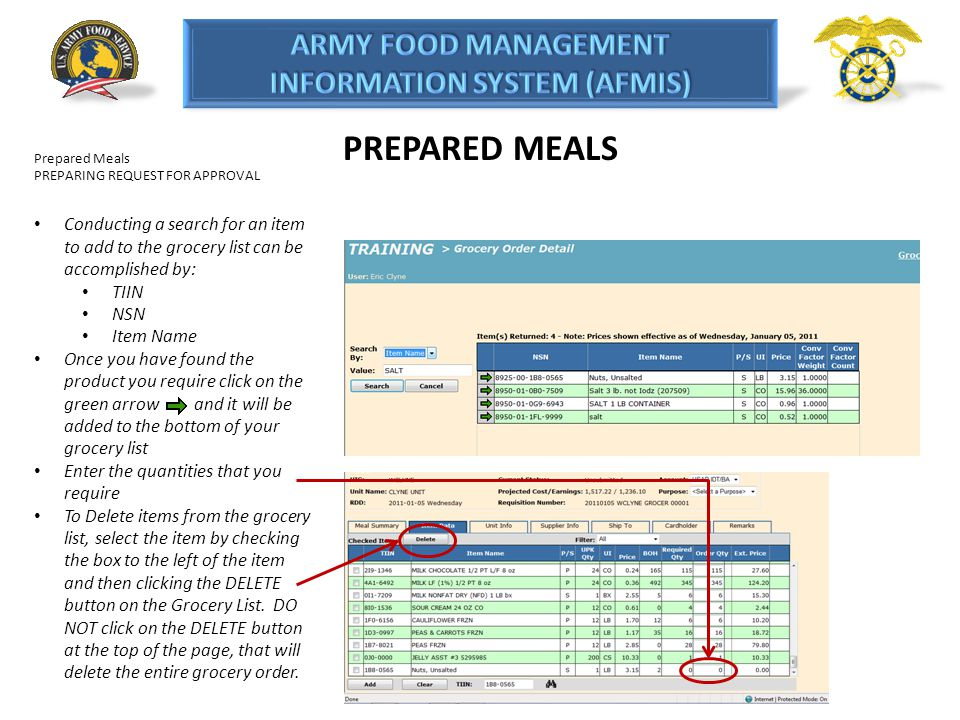 PREPARED MEALS Prepared Meals. PREPARING REQUEST FOR APPROVAL. Conducting a search for an item to add to the grocery list can be accomplished by: