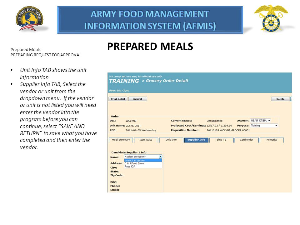 PREPARED MEALS Unit Info TAB shows the unit information