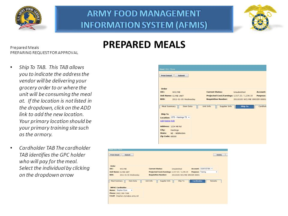 PREPARED MEALS Prepared Meals. PREPARING REQUEST FOR APPROVAL.