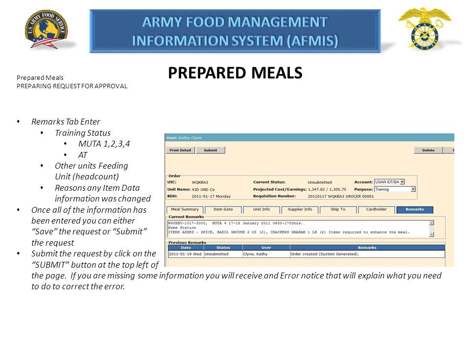 PREPARED MEALS Remarks Tab Enter Training Status MUTA 1,2,3,4 AT