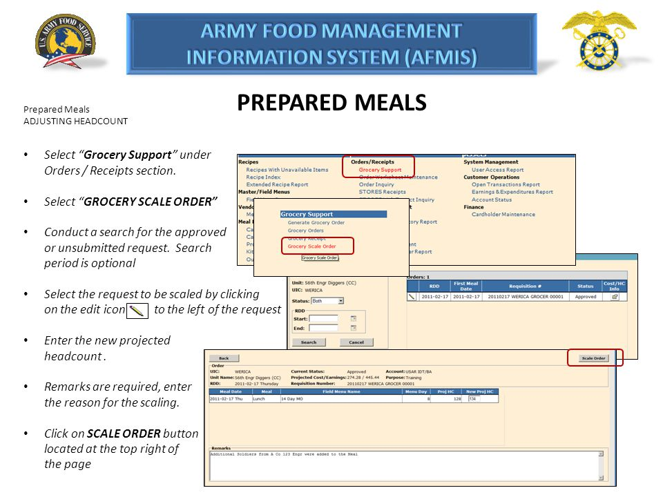PREPARED MEALS Prepared Meals. ADJUSTING HEADCOUNT. Select Grocery Support under Orders / Receipts section.