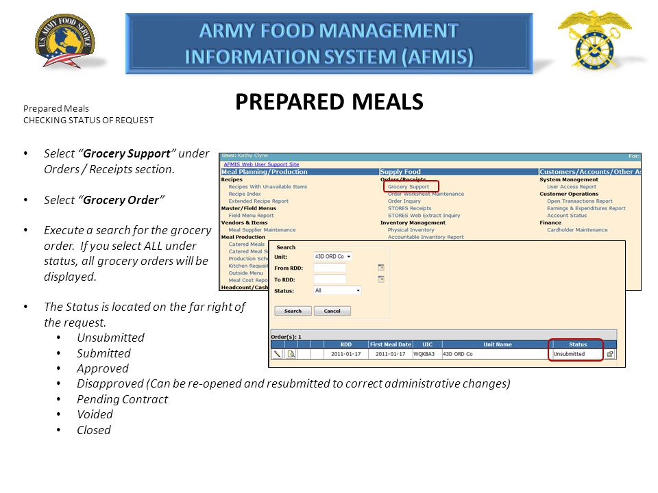 PREPARED MEALS Prepared Meals. CHECKING STATUS OF REQUEST. Select Grocery Support under Orders / Receipts section.