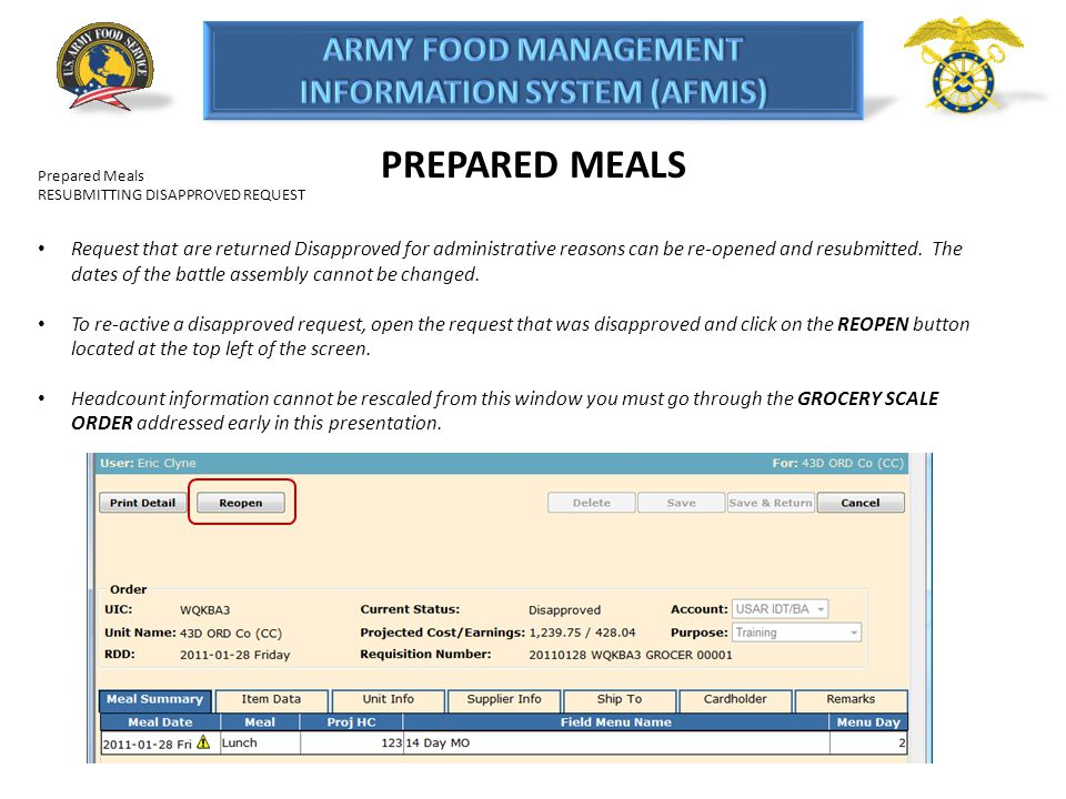 PREPARED MEALS Prepared Meals. RESUBMITTING DISAPPROVED REQUEST.