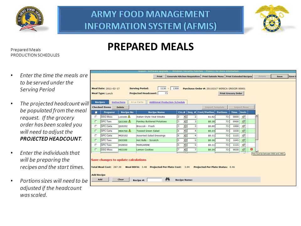 PREPARED MEALS Prepared Meals. PRODUCTION SCHEDULES. Enter the time the meals are to be served under the Serving Period.