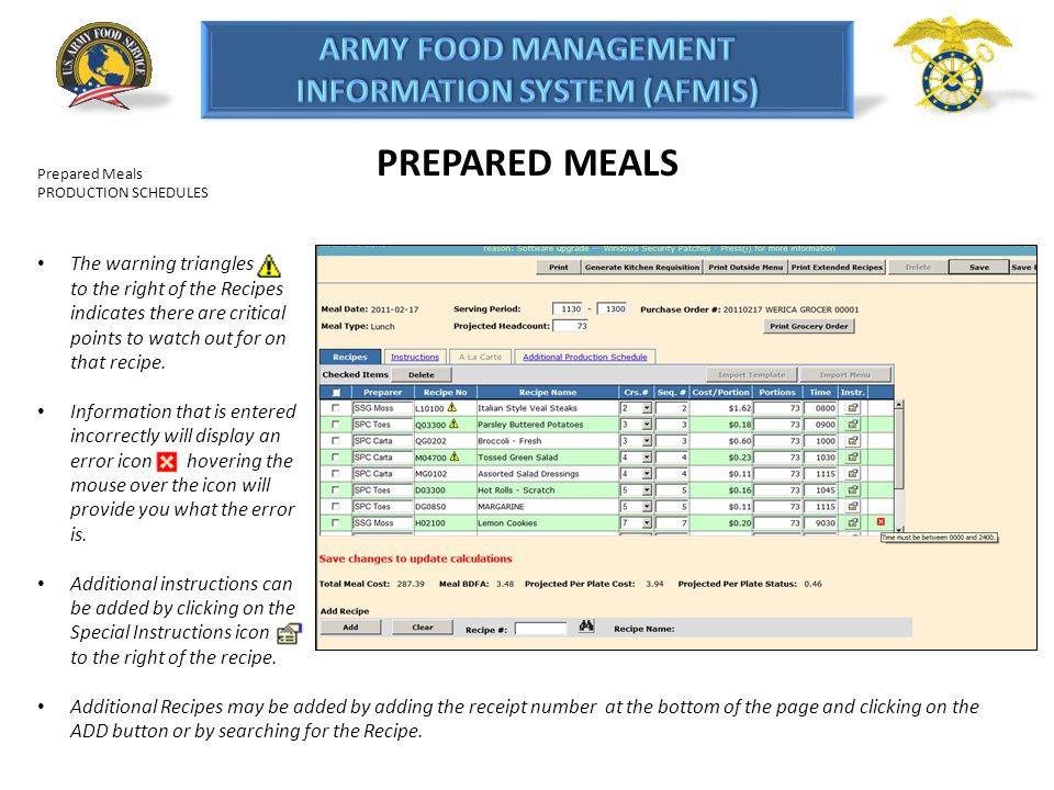 PREPARED MEALS Prepared Meals. PRODUCTION SCHEDULES.
