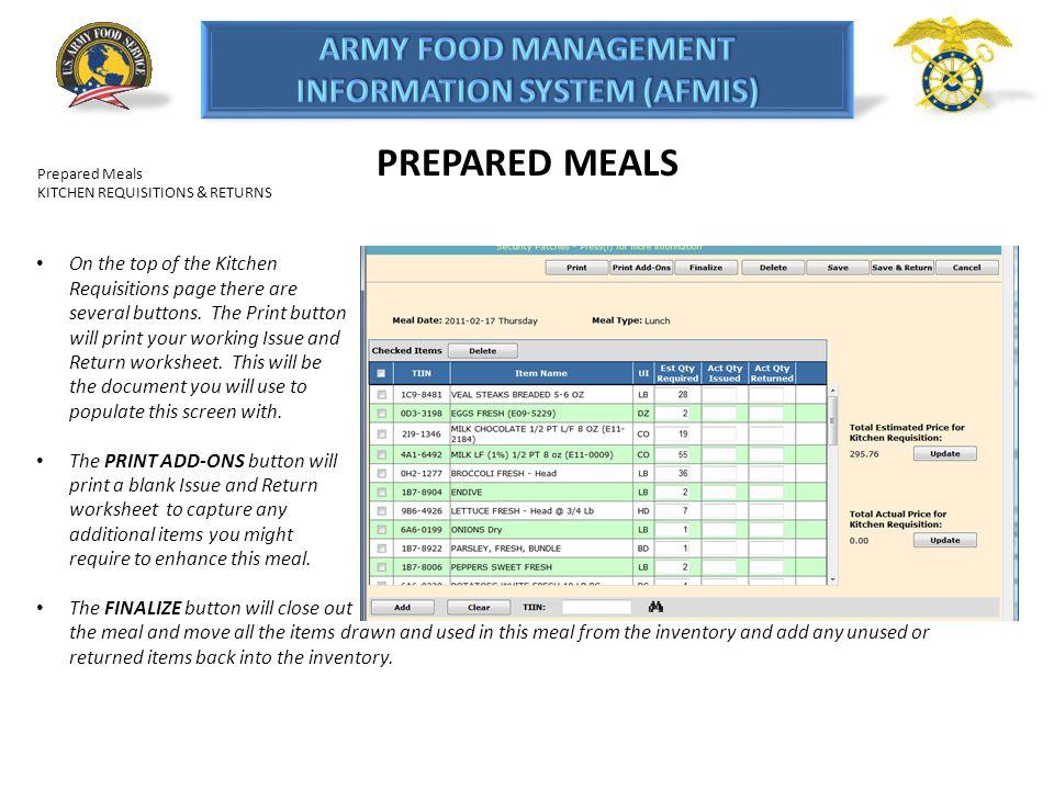 PREPARED MEALS Prepared Meals. KITCHEN REQUISITIONS & RETURNS.