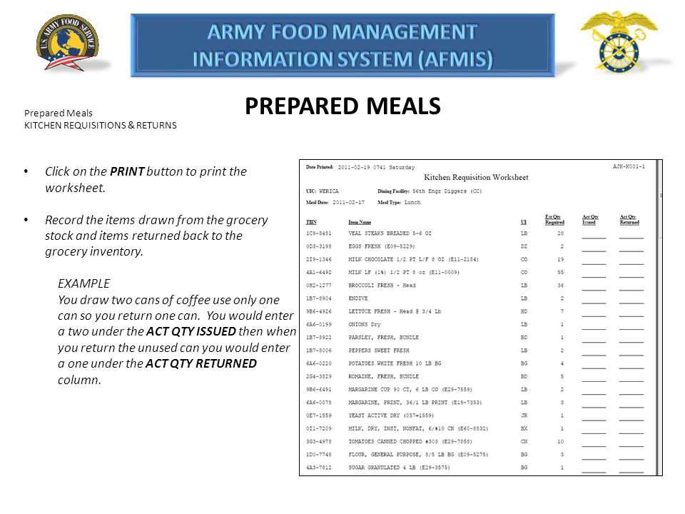 PREPARED MEALS Click on the PRINT button to print the worksheet.