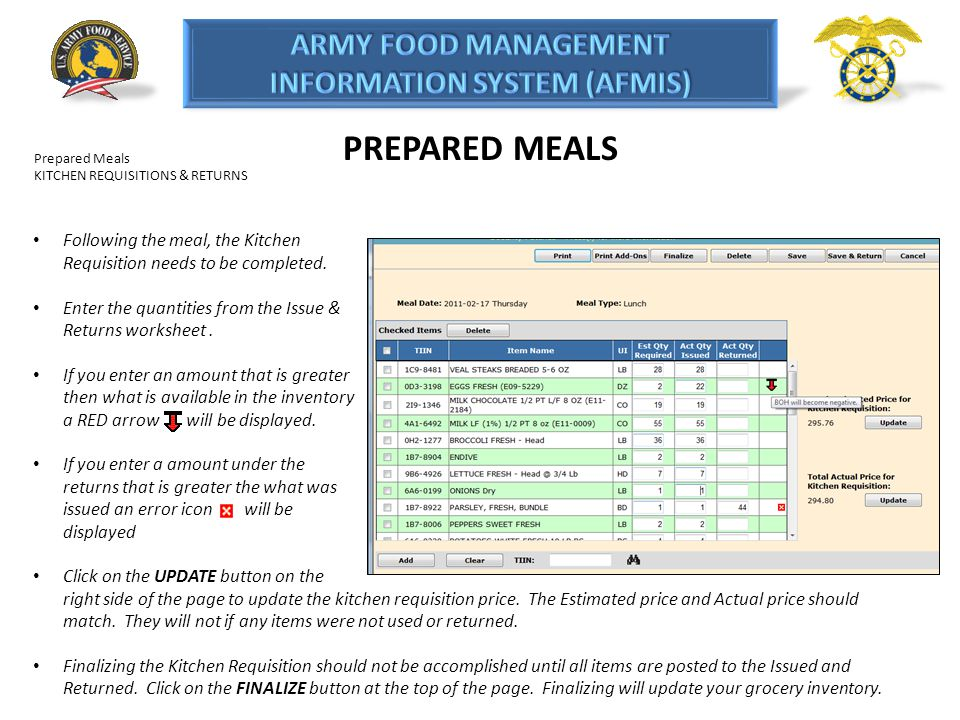 PREPARED MEALS Prepared Meals. KITCHEN REQUISITIONS & RETURNS. Following the meal, the Kitchen Requisition needs to be completed.