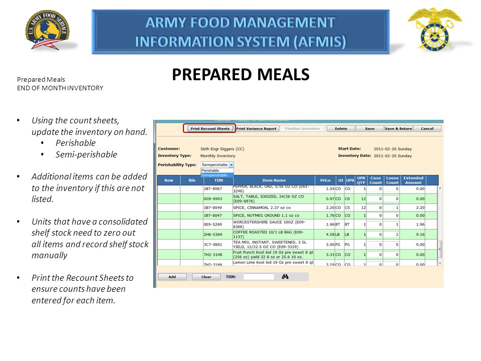 PREPARED MEALS Using the count sheets, update the inventory on hand.