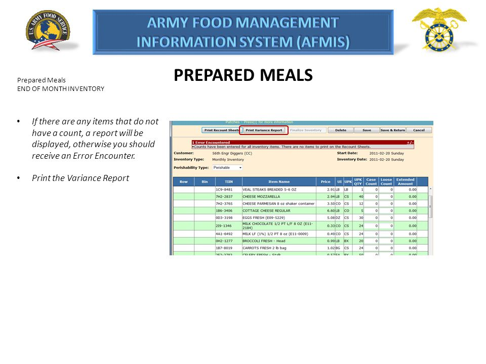 PREPARED MEALS Prepared Meals. END OF MONTH INVENTORY.