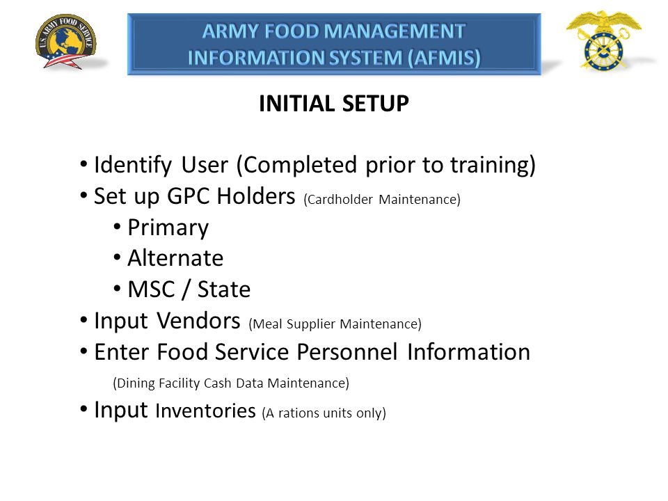 Identify User (Completed prior to training)