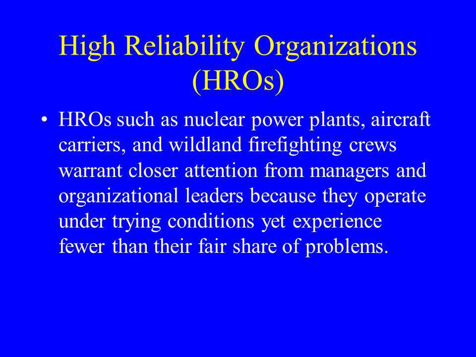High Reliability Organizations (HROs)
