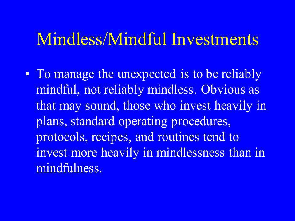 Mindless/Mindful Investments